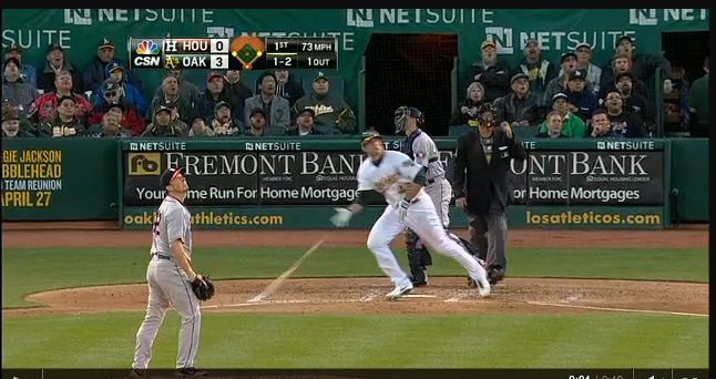 xxx Freiman hits his first MLB home run, a 3-run shot off xxx Bedard of the Houston Astros (photo courtesy of mlb.com)