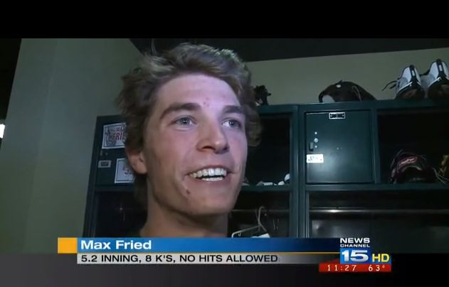 Max Fried in a post-game interview (WANE-TV, Fort Wayne)