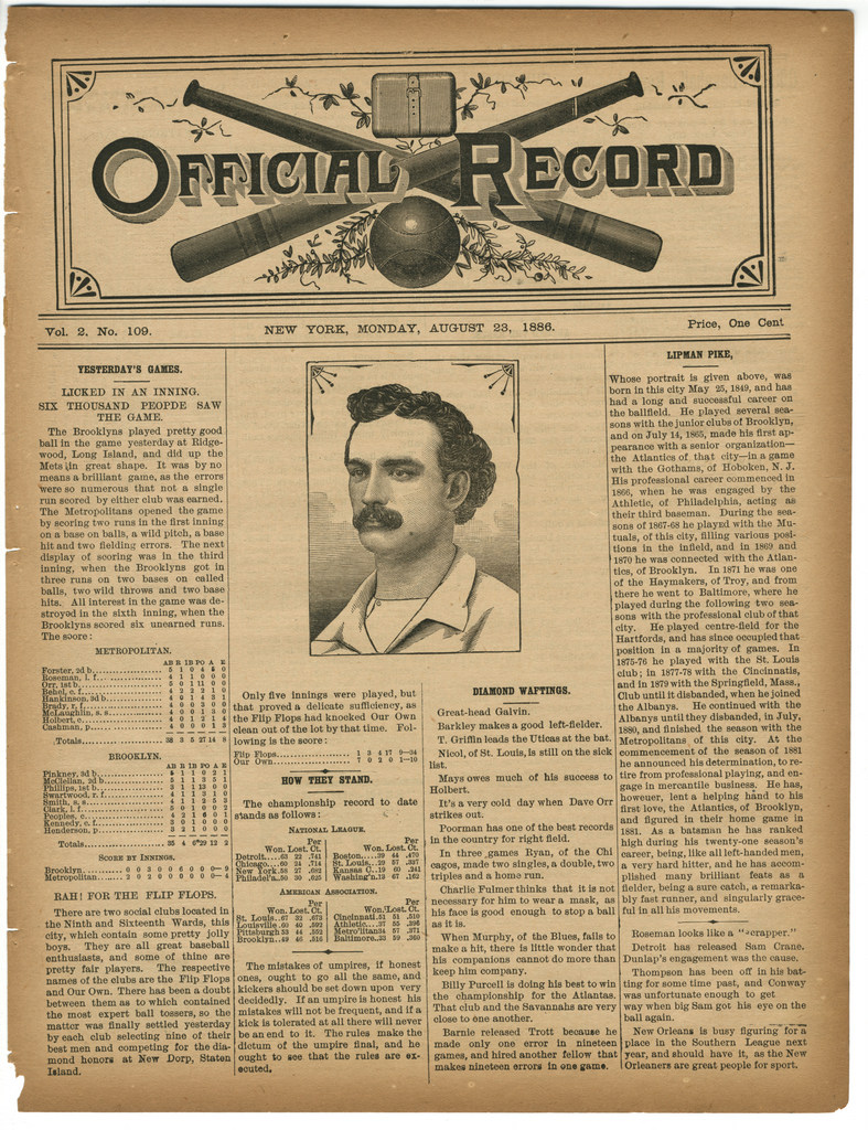 "Five years after the 41-year-old Lipman Pike had made his last major league appearance, he was still making headlines (Official ""Baseball"" Record, August 23, 1886, National Museum of American Jewish History, 2013.54.1, Gift of Gil Bogen in memory of Rosalyn Rae Bogen)"