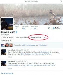 Steven Matz's Twitter page points to a New Testament passage