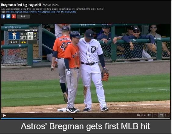 bregman first mlb hit 7-31-2016