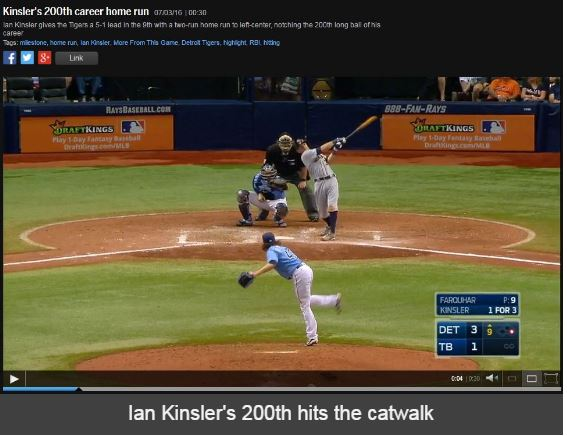 kinsler 200th hr 7-3-2016