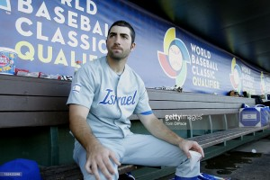 Josh Satin of Team Israel looks on from the bench during game one of the Qualifying Round of the World Baseball Classic against Team South Africa at Roger Dean Stadium in Jupiter, Florida, on Sep. 19, 2012 (Tom DiPace, Getty Images)