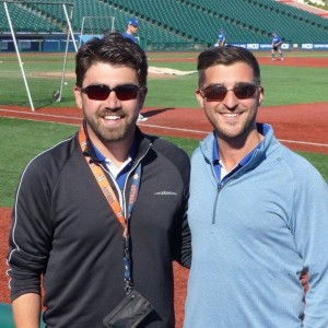 Houston Astros scout Alex Jacobs (left) and Los Angeles Dodgers scout Jonah Rosenthal (right) volunteered to help Team Israel build its roster for the World Baseball Classic
