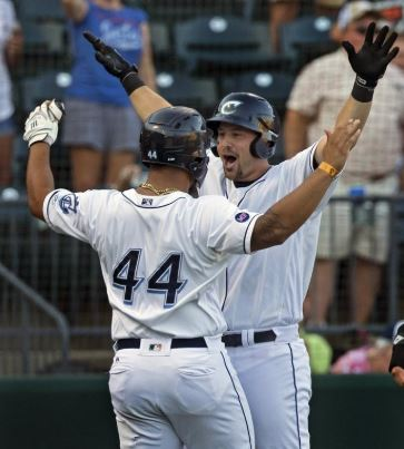 Ryan Lavarnway celebrates after hitting the first of 2 HRs in a September 11 playoff win